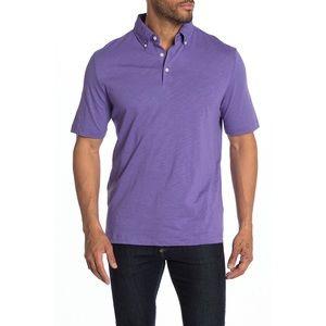 Thomas Dean Light Purple Short Sleeve Woven Polo